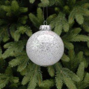Festive Iridescent Beaded Glass Bauble - 8cm