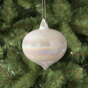 Festive Pearl Effect Onion Shape Glass Bauble, 8cm - White