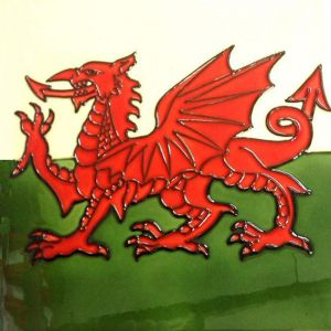 Benaya Art Ceramics Welsh Dragon Flag Trivet – 8 x 8""