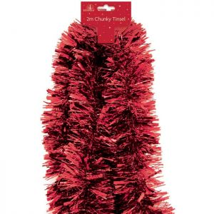 Festive Wonderland 5 Ply Tinsel, 2m - Red