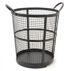 Metal Log Basket - Black