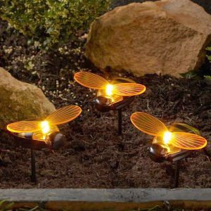 Smart Solar Bee Stake Lights – Pack of 3