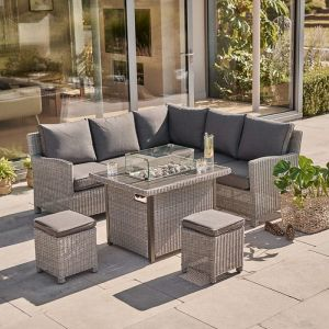 Kettler Palma 7 Seater Mini Modular Dining Set with Firepit Table