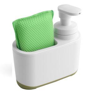 Addis Soap Dispenser & Sponge Holder – White / Green