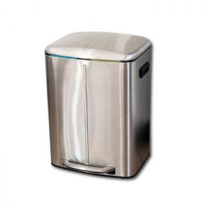 Addis Twin Compartment Recycling Bin, 20L + 20L – Stainless Steel