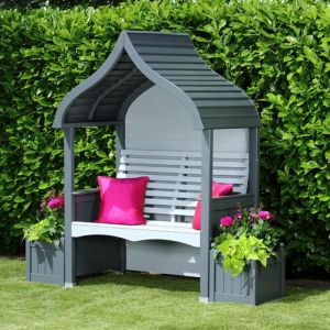 AFK Orchard Painted Arbour - Charcoal & Stone