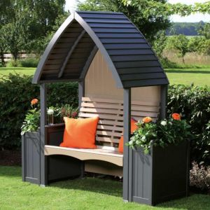 AFK Cottage Painted Arbour – Charcoal & Nutmeg