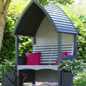 AFK Cottage Painted Arbour – Charcoal & Stone