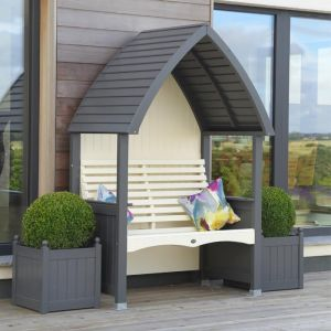 AFK Cottage Painted Arbour - Charcoal & Cream