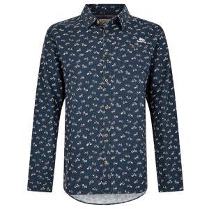 Weird Fish Antoine Slub Print Shirt - Navy