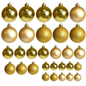 Assorted Baubles, 30 Pack - Light Gold