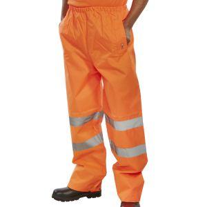 B-Seen High Vis Waterproof Trousers - Orange
