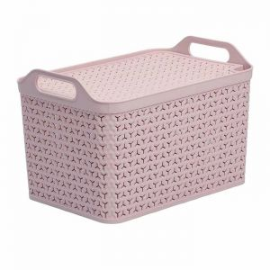 Strata Large Handy Basket with Lid – Blush Pink