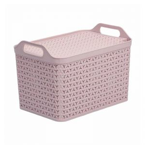 Strata Medium Handy Basket with Lid – Blush Pink