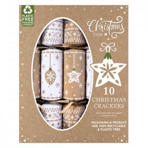 Star & Bauble Eco Christmas Crackers – Pack of 10