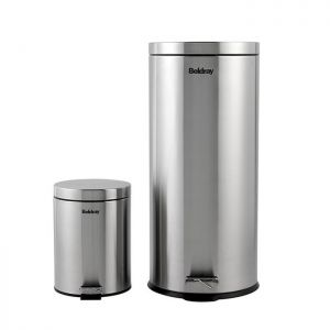 Beldray Round Pedal Bin Set, 30 & 5 Litre - Stainless Steel