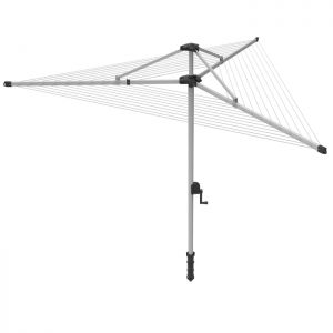 Addis 60m 3-Arm Crank And Lift Rotary Airer With Cover and Ground Socket