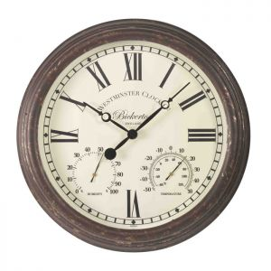 Outside In Bickerton Wall Clock and Thermometer