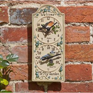 Outside In Birdberry Wall Clock and Thermometer