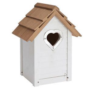 Gardman Grey Heart Wooden Bird Nest Box