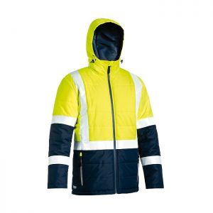 Bisley Workwear Men's Taped Two Tone Hi-Vis Puffer Jacket – Yellow