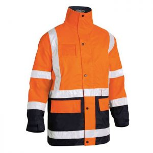 Bisley Workwear Men's Taped Hi-Vis 5in1 Rain Jacket – Orange