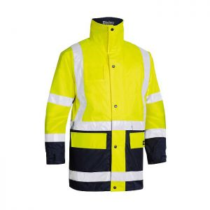 Bisley Workwear Men's Taped Hi-Vis 5in1 Rain Jacket – Yellow