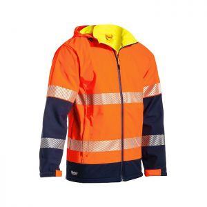 Bisley Workwear Men's Taped Two Tone Hi-Vis Softshell Jacket – Orange
