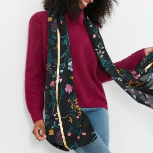 Joules Women's Conway Lightweight Scarf – Black Botanical