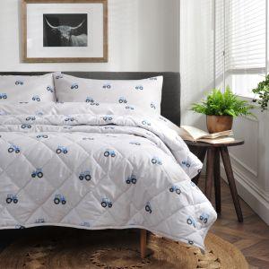 Deyong Blue Tractor Bedspread, Grey