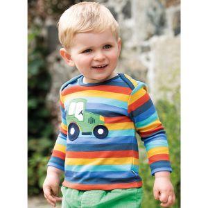 Frugi Baby Bobby Applique Top – Stripe Rainbow / Tractor