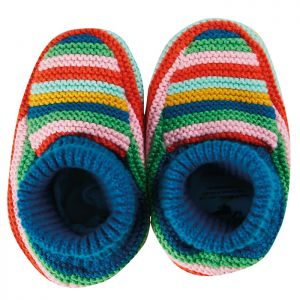 Frugi Baby Briar Knitted Booties – Rainbow Stripe