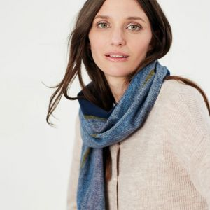 Joules Women's Bracken Check Scarf – Pink Blue Check