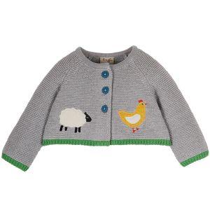 Frugi Baby Cute As A Button Cardigan – Grey / Farmyard
