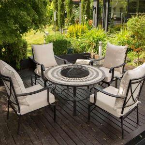 LG Outdoor Casablanca 4 Seat Ceramic Charcoal Firepit Lounge Set