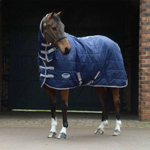 Weatherbeeta ComFiTec 210D Channel Stable Quilt Combo Neck Medium - Navy/Silver/Red