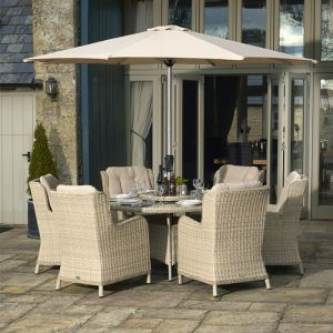 Bramblecrest Chedworth 6 Seater Round Dining Set with Lazy Susan, Parasol & Base