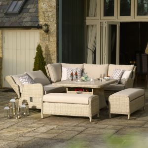 Bramblecrest Chedworth 9 Seater Reclining Sofa Dining Set with Firepit