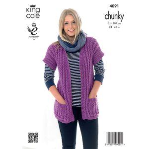 King Cole Chunky Waistcoat  Knitting Pattern