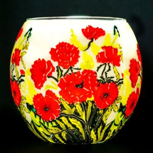 Benaya Art Ceramics Classic Poppies Tealight Holder
