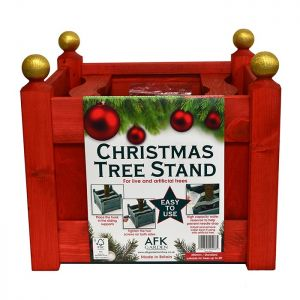 AFK Classic Wooden Christmas Tree Stand - Red