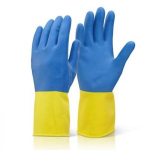 Click Heavyweight Large Rubber Glove – Yellow & Blue