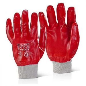 Click PVC Fully Coated Knitwrist 9 Glove – Red