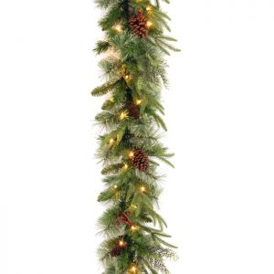 National Tree Colonial Pine 'Feel Real' Pre-Lit Garland - 2.7m