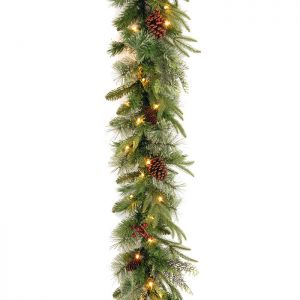 National Tree Colonial Pine 'Feel Real' Pre-Lit Garland - 3.6m