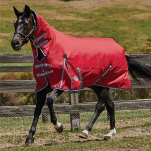 Weatherbeeta ComFiTec Classic Combo Neck Lite Turnout Rug - Red/Silver/Navy