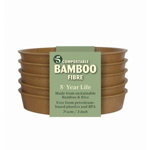 """Haxnicks 3"""" Compostable Bamboo Plant Saucers, Pack of 5 - Terracotta"""