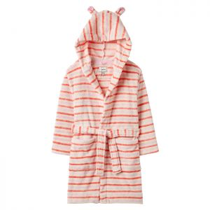 Joules Children's Constell Teddy Dressing Gown - Pink White Stripe