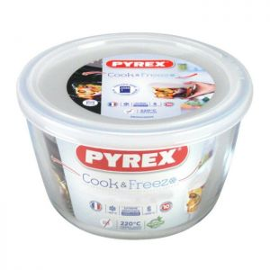 Pyrex Cook and Freeze Round Glass Dish with Lid - 1.1 Litre