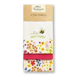 Cooksmart Tea Towels, Pack of 3 - Bee Happy